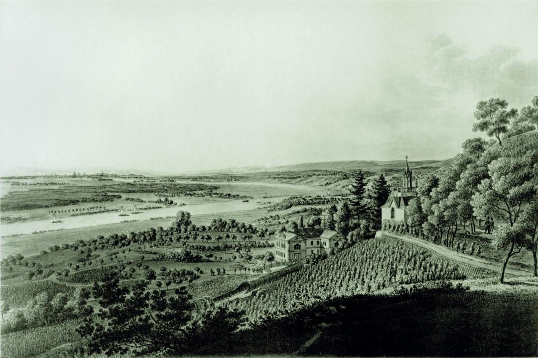 Der Aussichtspunkt im Kgl. Wachwitzer Weinberg animierte schon vor 200 Jahren einen unbekannten Künstler. Historischer Stich: Archiv OV Loschwitz-Wachwitz e. V.
