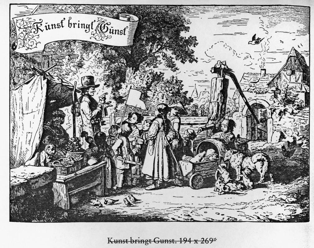 """""""Kunst bringt Gunst"""", Holzschnitt von Ludwig Richter, 1857. Reproduktion: Archiv Bernstengel"""