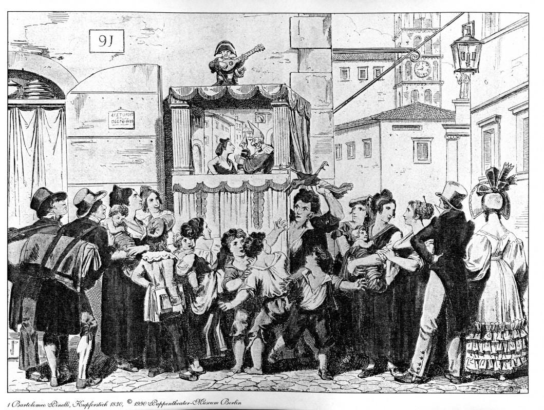 Pulchinella-Spiel, Kupferstich von Bartolomeo Pinelli, 1830. Reproduktion: Archiv Bernstengel