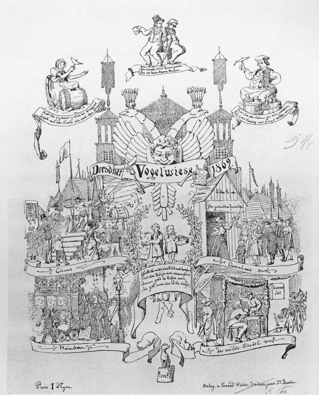 """Das Theater der Witwe Magnus kündigt die Vorstellung """"Der Geschundene Raubritter"""" an, Titelblatt der Zeitschrift """"Kikeriki"""", 1869.  Reproduktion: Archiv Bernstengel"""