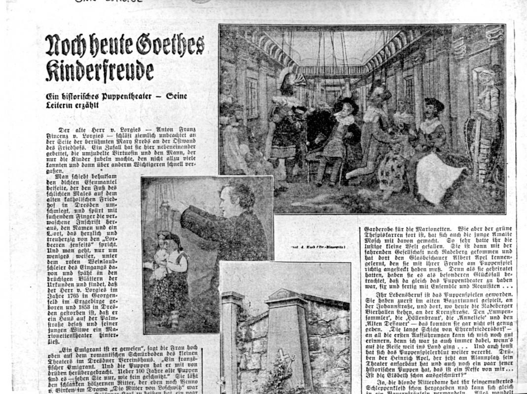 """Szene aus """"Die Ritter von Loschwitz"""", Apel's Marionettentheater. aus: DNN vom 25.10.1932"""