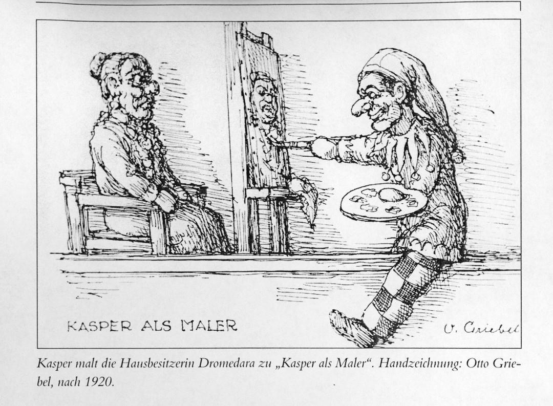 """Kasper malt die Hausbesitzerin Dromedara zu """"Kasper als Maler"""", Handzeichnung von Otto Griebel, nach 1920. Repro: Archiv Bernstengel"""