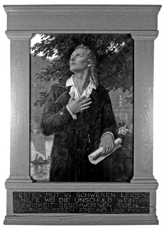 """Georg Schwenk (1863 – 1936): Friedrich Schiller in Loschwitz Gemälde in der Schillerschule Loschwitz. Das Gemälde (hier noch im unrestaurierten Zustand) wurde zu DDR- Zeiten """"abgehangen"""" und durch ein Motiv """"Aufnahme in die Jungen  Pioniere"""" (gemalt von Karl-Erich Schäfer) ersetzt. Foto: Helmut Körner"""