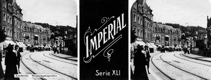 """Stereo-Photographie des Körnerplatzes um 1900 als Zigarettenbild der Marke """"Imperial""""."""