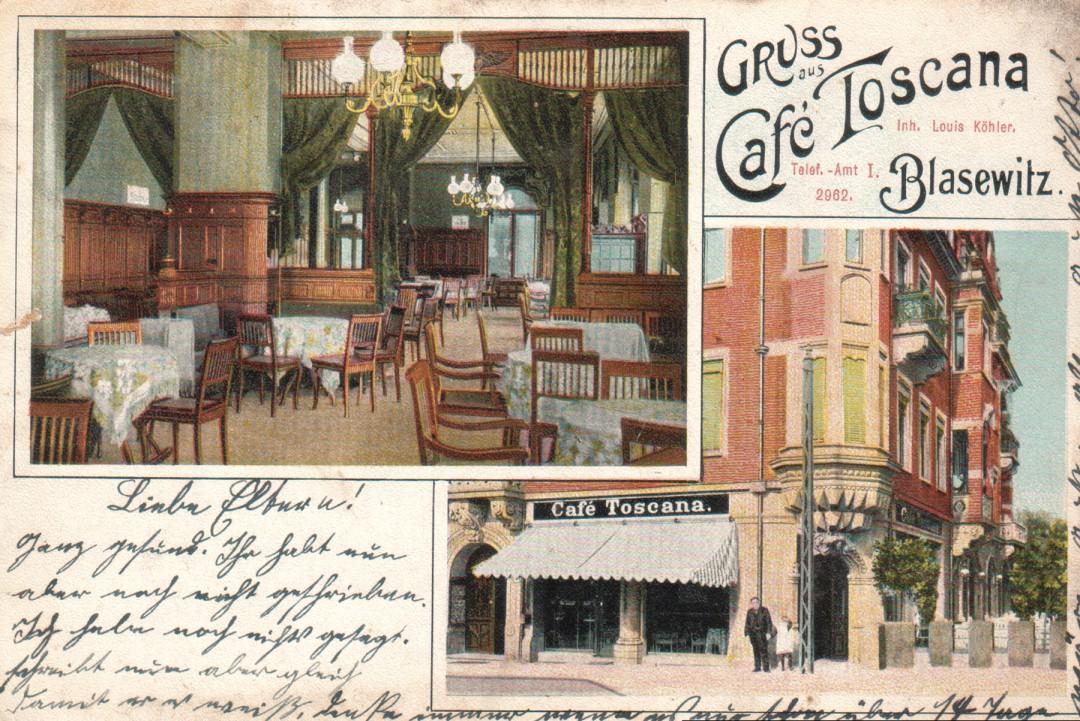 """""""Café Toscana""""-Ansichtskarte mit Grüßen von Louis Köhler an seine Eltern. Abbildung: Sammlungen Bregner und Eisold"""
