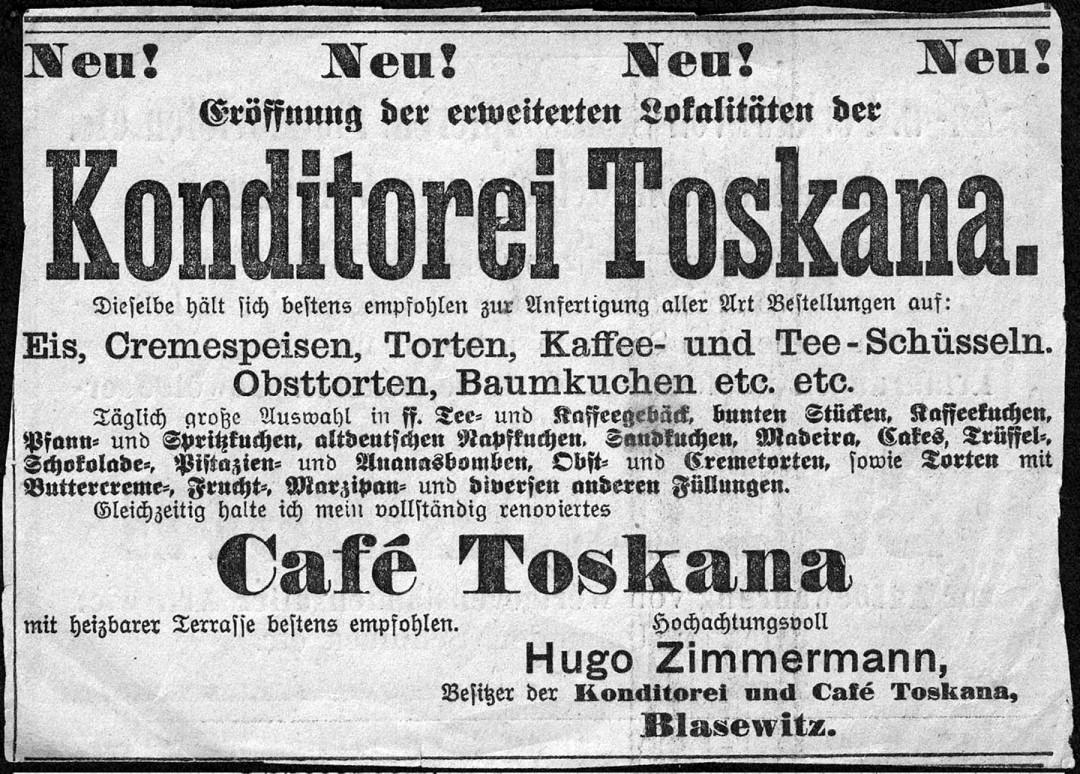 Anzeige zur Erweiterung der Konditorei im Jahre 1910. Abbildung: Sammlungen Bergner und Eisold