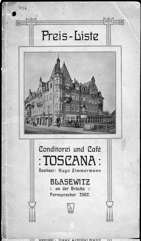 Die Speisekarte mit Preisliste aus dem Jahr 1910. Abbbildung: Sammlung Eisold