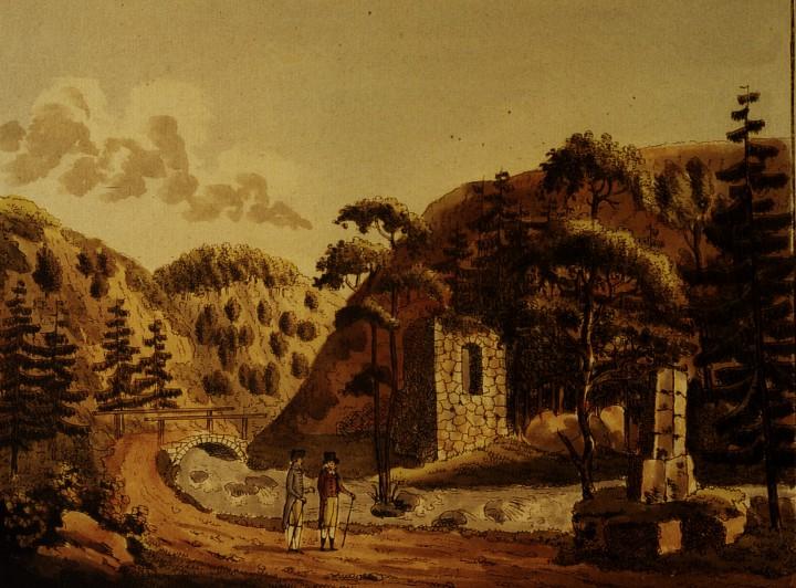 """Der zerbrochene Opferstein, links daneben die """"Ruinen eines antiken Tempels"""". Kolorierter Kupferstich, Ende 18. Jahrhundert. Foto: Archiv Ortsverein Pillnitz"""