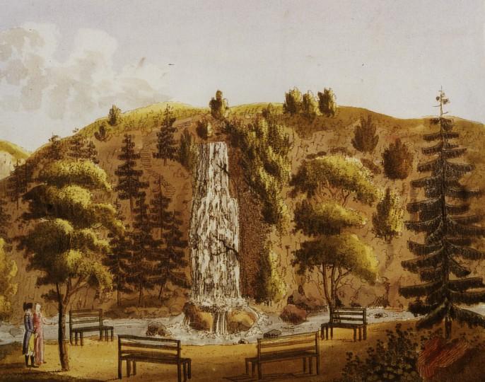 """Der künstliche Wasserfall, im Vordergrund vier Bänke, von denen aus das """"Natur-Schauspiel"""" zu bewundern war. Kolorierter Kupferstich, Ende 18. Jahrhundert. Foto: Archiv Ortsverein Pillnitz"""