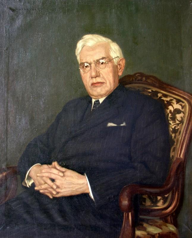 Justizrat Dr. jur. Bernhard Eibes. Original Öl/Leinwand, 92 x 79 cm.