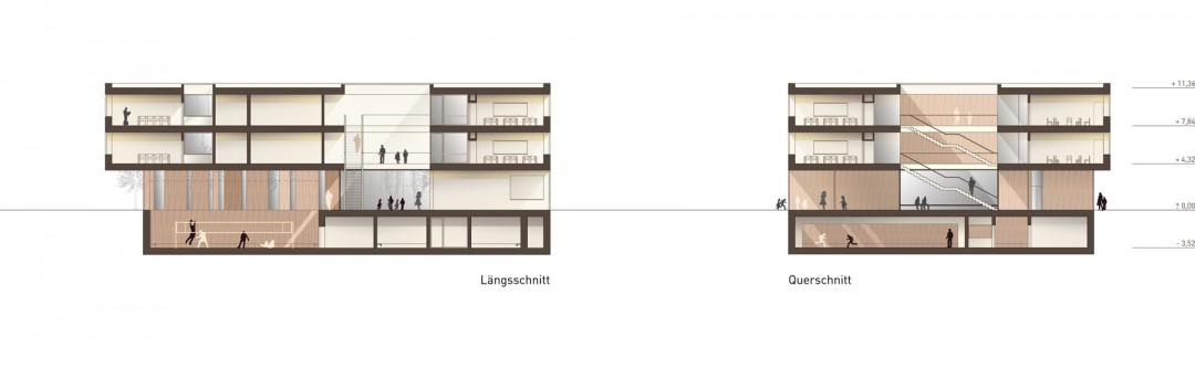 """Längs- und Querschnitt (1. Preis). Abbildung: Architekturbüro """"Raum und Bau"""""""