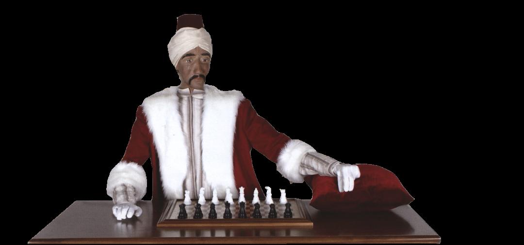 """Der """"Schachtürke"""" will während der Dresdner Schacholympiade 2008 in den Technischen Sammlungen gegen die Besucher antreten.  Foto: Faltblatt"""