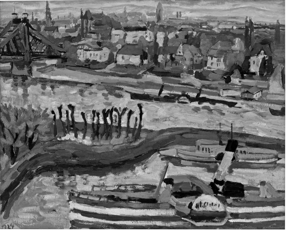 Hans Jüchser, Elbhafen Loschwitz, 1924, Öl auf Leinwand, 63,5 x 79,5 cm, Privatbesitz Dresden. Foto: Herbert Boswank, Dresden