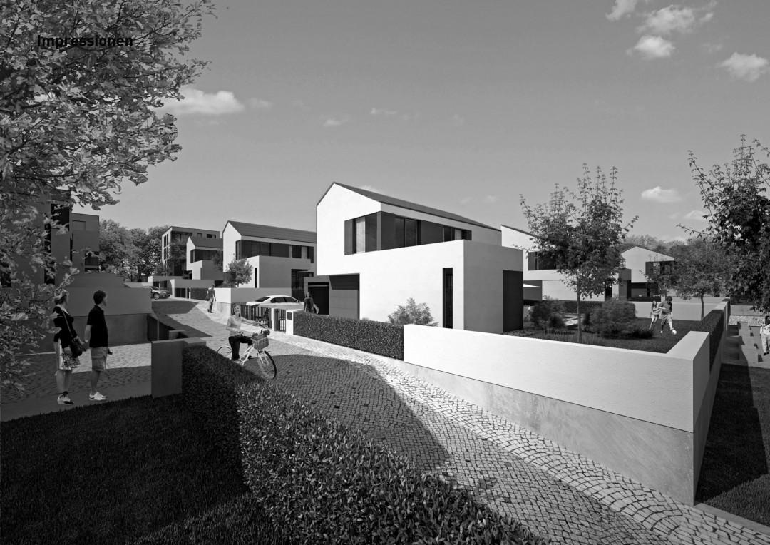So könnten die modernen Häuser mit geneigten Dächern in der neuen Siedlung aussehen.   Grafik: Wörner & Partner