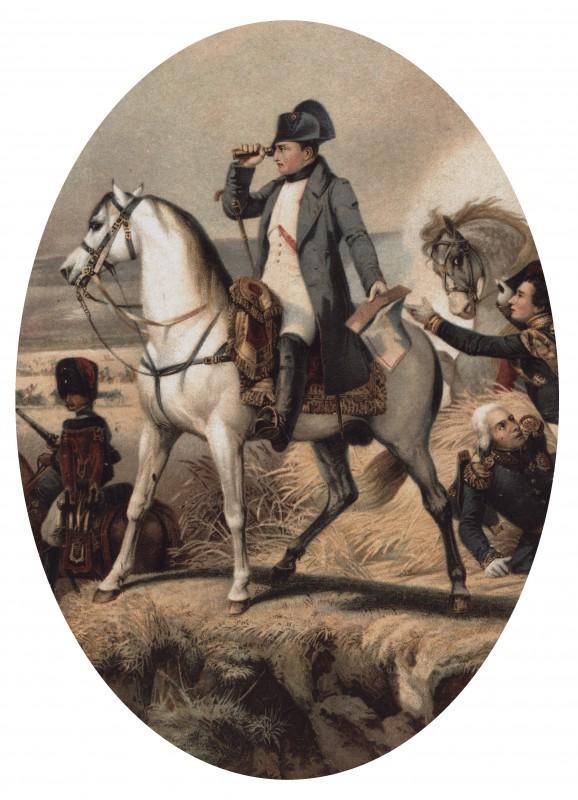 Napoleon im August 1813 auf dem nachmals Erckelschen Weinberg beim Beobachten von gegnerischen Truppenbewegungen Reproduktion: Sammlung Eberhard Münzner