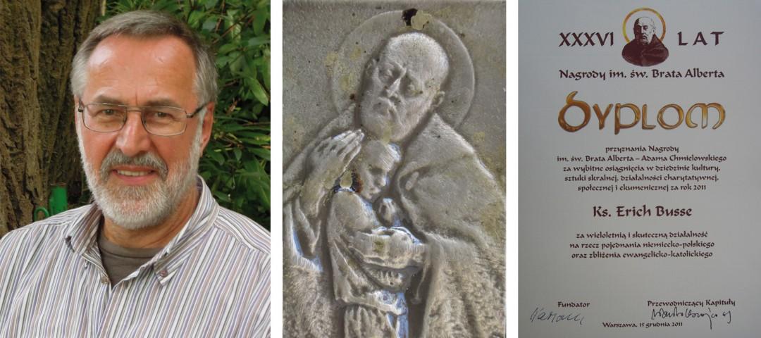 """Der Orden (und die Urkunde) zeigt ein Porträt des 1983 selig und 1989 heilig gesprochenen Adam Chmielowski (1845–1916), heute bekannt als Heiliger Bruder (Brat) Albert, der sich (als Ordensgründer) sozial engagierte und später künstlerisch tätig war und auch als """"polnischer heiliger Franziskus"""" des 20. Jahrhunderts"""" verehrt wird. Foto: Busse"""