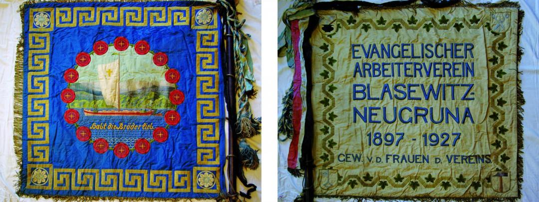 """Fahne des """"Evangelischen Arbeitervereins Blasewitz-Neugruna"""""""