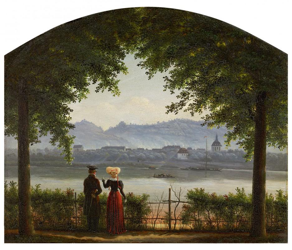 Bild von Blasewitz über die Elbe nach Loschwitz mit Kirche und Fährhaus Gemälde von G. H. Crola