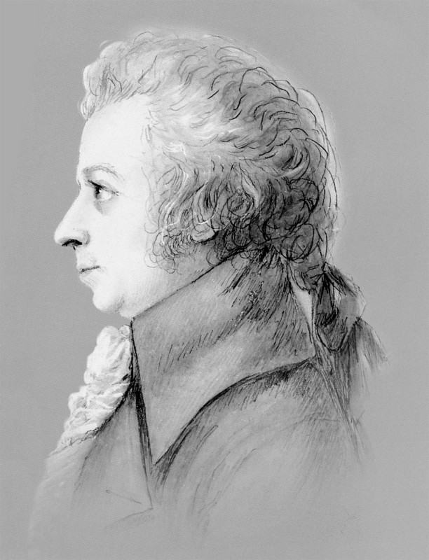 Wolfgang Amadeus Mozart, Silberstiftzeichnung von Dora Stock, 1789. Reproduktion aus Semperoper-Journal 6/2005