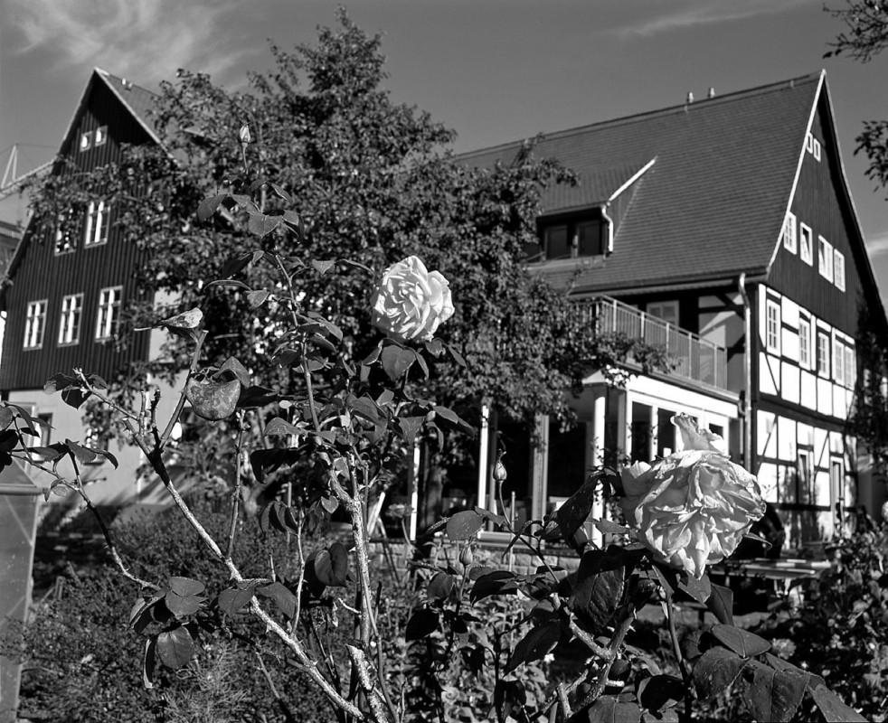 Die Südseite des alten Fährgutes mit dem neuen Wintergarten. Foto: Jürgen Frohse