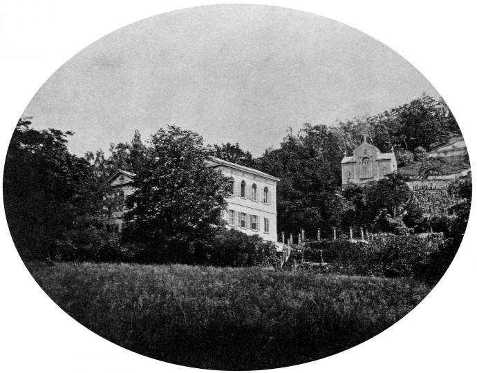 Die alte Königliche Villa mit Kapelle, August Kotzsch, um 1880. Archiv Eberhard Münzner