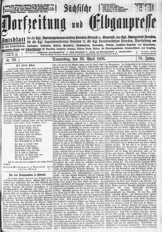 """""""Sächsische Dorfzeitung und Elbgaupesse"""" vom 30. April 1908 Archiv"""