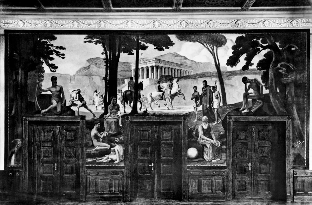 """Das nicht mehr vorhandene Aula-Wandbild """"GYMNASION"""" des Realgymnasiums Blasewitz Foto: Sammlung Wolfgang Steglich"""