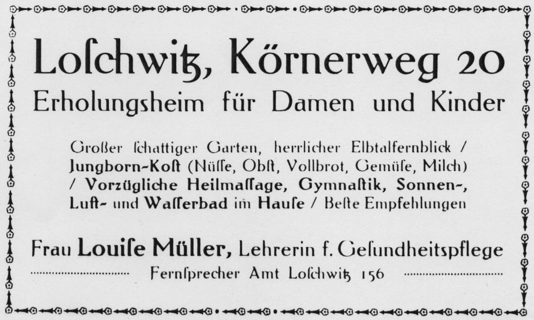 """Inserat aus der Broschüre """"Loschwitz"""" (vor 1915), im Selbstverlag des OV Loschwitz erschienen. Foto: Sammlung Grosse/Eisermann"""