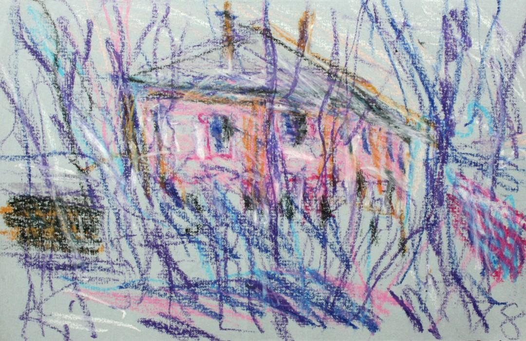 Palais Münchhausen, Wachskreidemalerei von Helmut Schmidt-Kirstein. Das kleinformatige Bild befindet sich im Bestand der Galerie Döbele, Dresden. Foto: Döbele