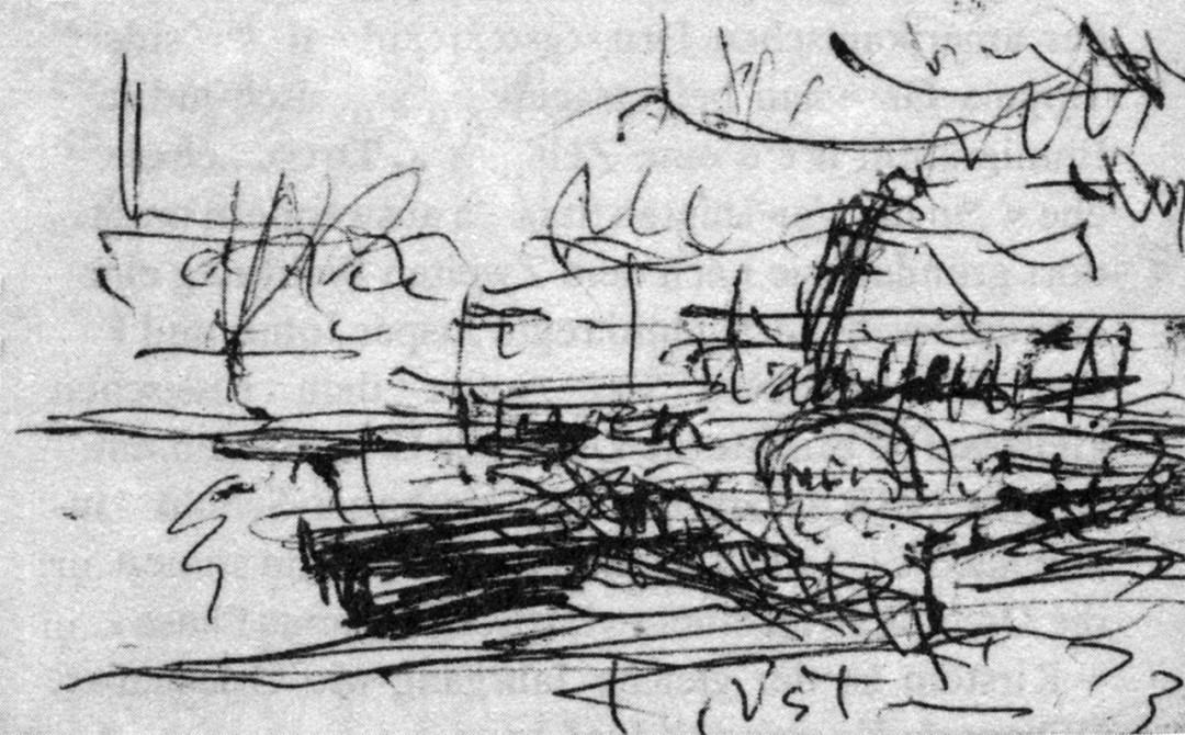 Elbdampfer an der Haltestelle Wachwitz Zeichnung: Dieter Hoffmann / Galerie Döbele