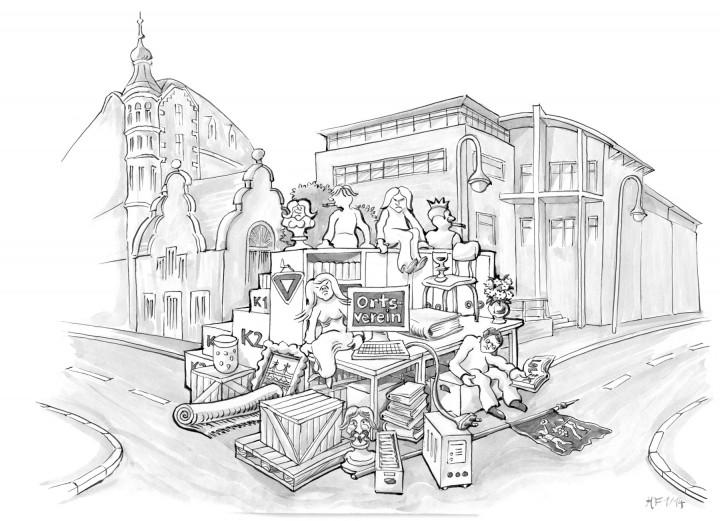 Auf die Straße gesetzt: Armes reiches Loschwitz! Zeichnung Holger Friebel Ausgabe Februar 2014