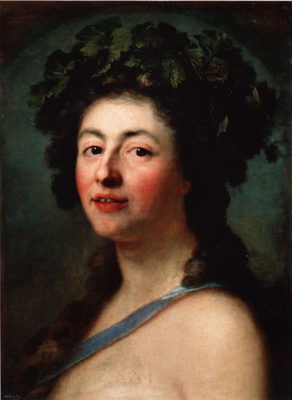 Für die Dionysos-Ausstellung stellte der (zeitweise in Blasewitz beheimatete) Maler Anton Graff auch sein Portrait einer Bacchantin zur Verfügung, die »mit ihrem leichtgeöffneten Mund ... einen ungewöhnlichen Zug in der Portraitkunst jener Zeit verkörpert. Ein blaues Stoffband führt schräg über den als unbekleidet zu denkenden Oberkörper. ... Der warme Blick der Bacchantin, ihre leicht geröteten Wangen ... zeigen eine zurückhaltende Frau, ... die sich in der Rolle der Dionysos-Anhängerin wohlzufühlen scheint.« Leider ist dieses offenherzige Kunstwerk nur im Ausstellungskatalog zu bewundern, in der gleichnamigen Hamburger Vorgänger-Ausstellung durfte man es noch unbefangen betrachten. Reproduktion: Gemäldegalerie Alte Meister, Staatliche Kunstsammlungen Dresden, Inv.-Nr. 88/28