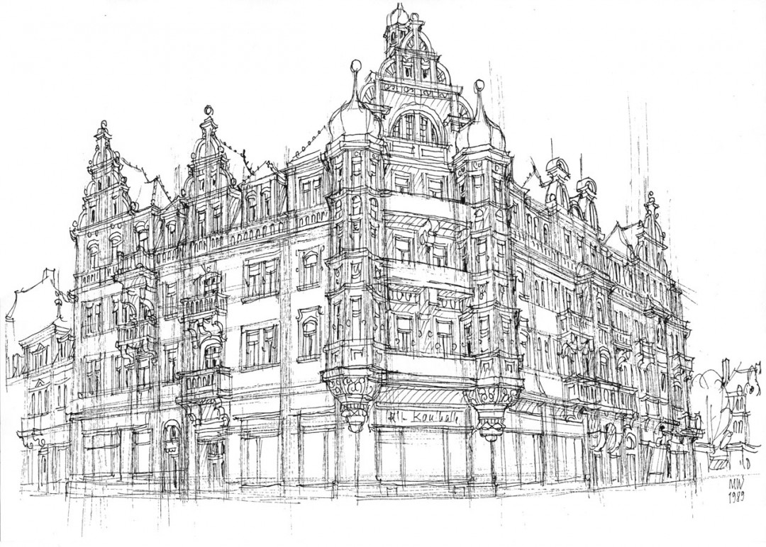 »Voigtsche Häusern« am Schillerplatz – Federzeichnung von Manfred Wagner (siehe Elbhang-Kurier 3/2014, Seite 17) in der Ausstellung der SchillerGalerie.