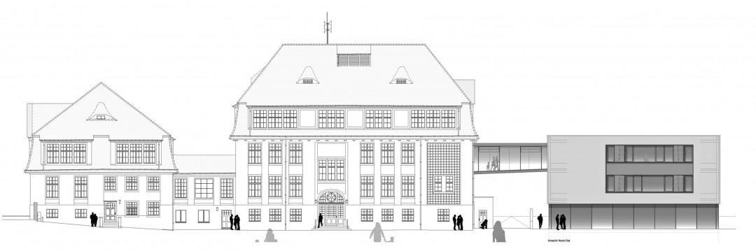 Mittelschule Loschwitz mit geplantem Turnhallenabau Abbildung: Hochbauamt Dresden