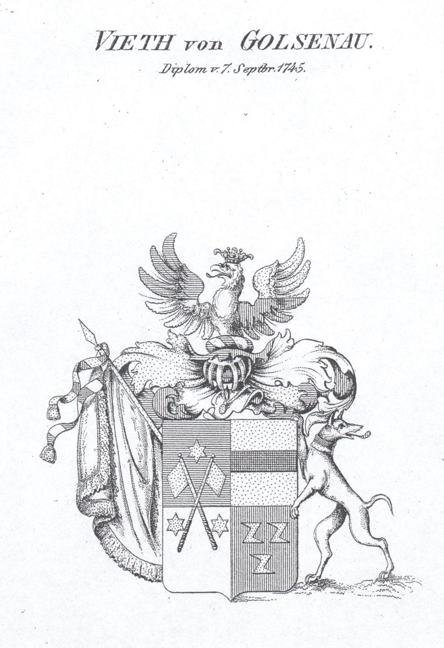 Wappen der Familie Vieth von Golsenau. Reproduktion: Archiv Siegfried Merker