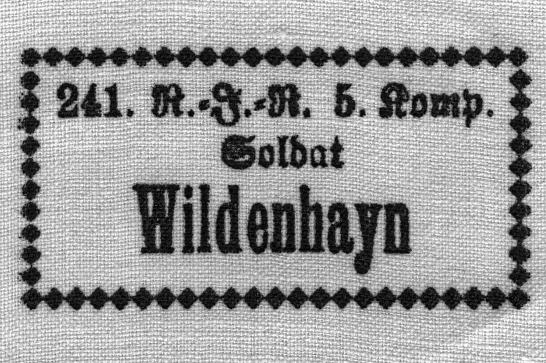 Etikett des Soldats Wildenhayn. Foto: Archiv Griesbach