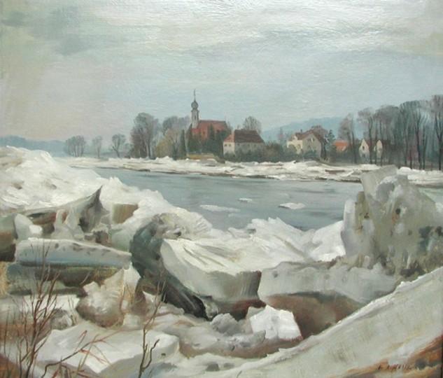 "Alfred Hesse: ""Eiswinter an der Elbe"""