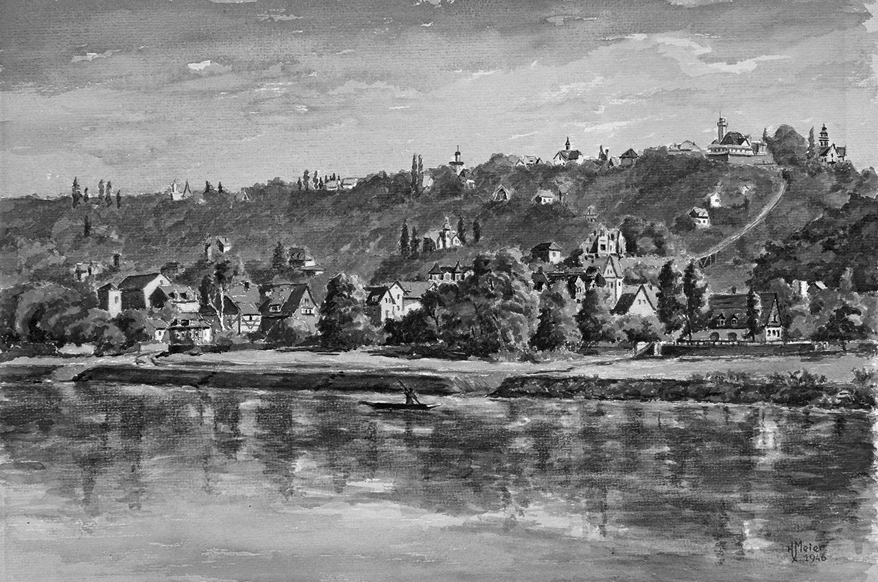 Loschwitzer Panorama auf einem Aquarell von Hans Meier. Abb.: Slg. Ernst Hirsch