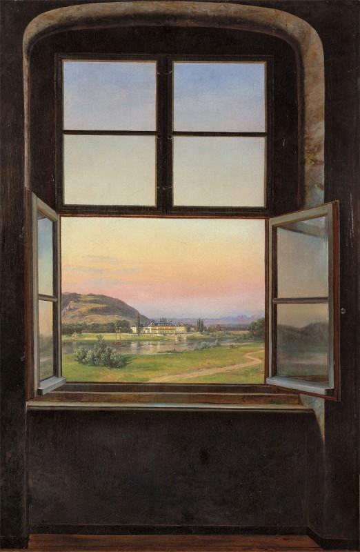 """Johan Christian Dahl, """"Blick auf Schloss Pillnitz"""", 1823 Öl auf Leinwand, Repro: Museum Folkwang, Essen"""