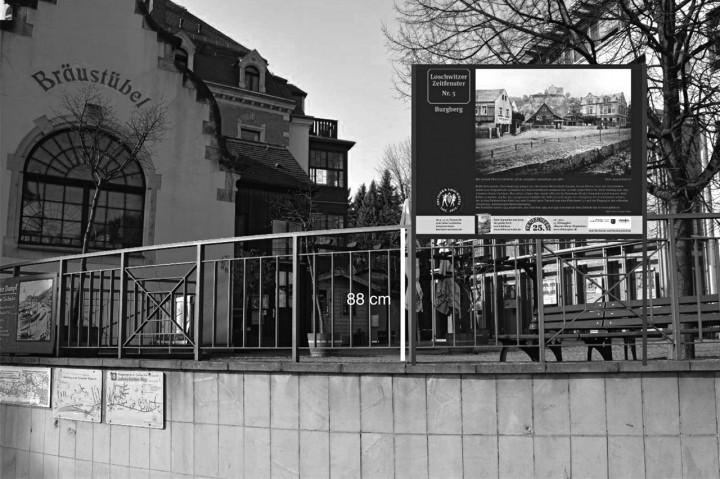 17 Poster mit historischen Ansichten werden im Ortskern zu sehen sein. Fotomontage: Holger Friebel