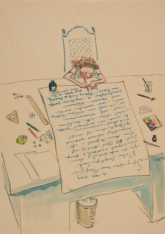 Illustrierter Brief von Franziska Bilek an Josef Hegenbarth, 13. Oktober 1949