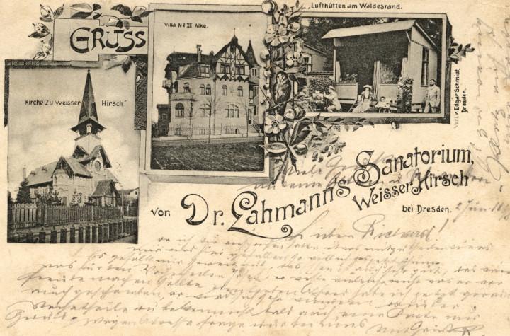 """Ansichtskarte """"Gruss von Dr. Lahmanns Sanatorium"""", 1898. Sammlung Christoph Schölzel"""