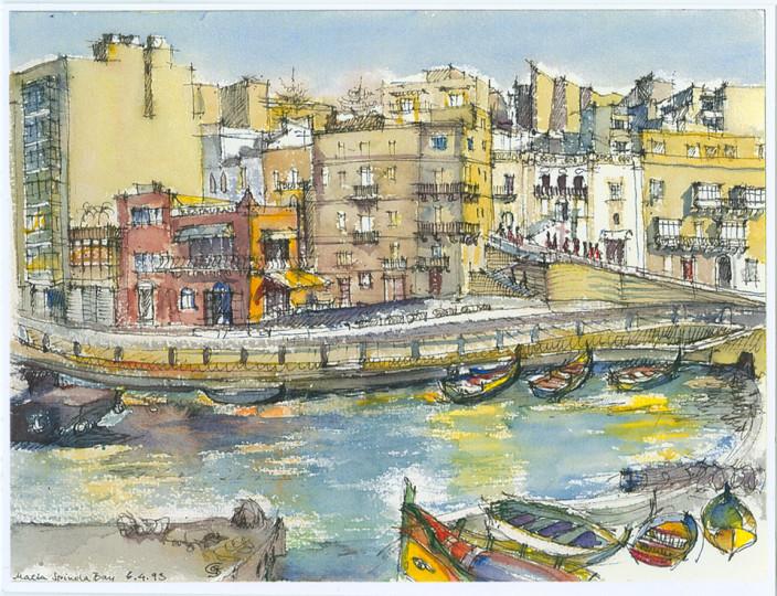 »An der Spinola-Bay der Insel Malta«, 1993, Aquarell von Gerda Starke